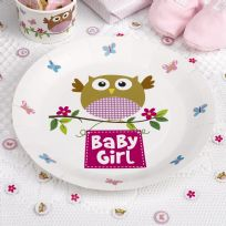 Little Owls Pink Baby Girl Plates (8)